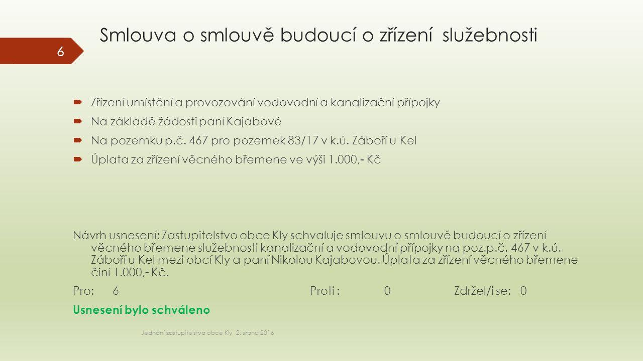 Smlouva o smlouvě budoucí o zřízení služebnosti Jednání zastupitelstva obce Kly 2.