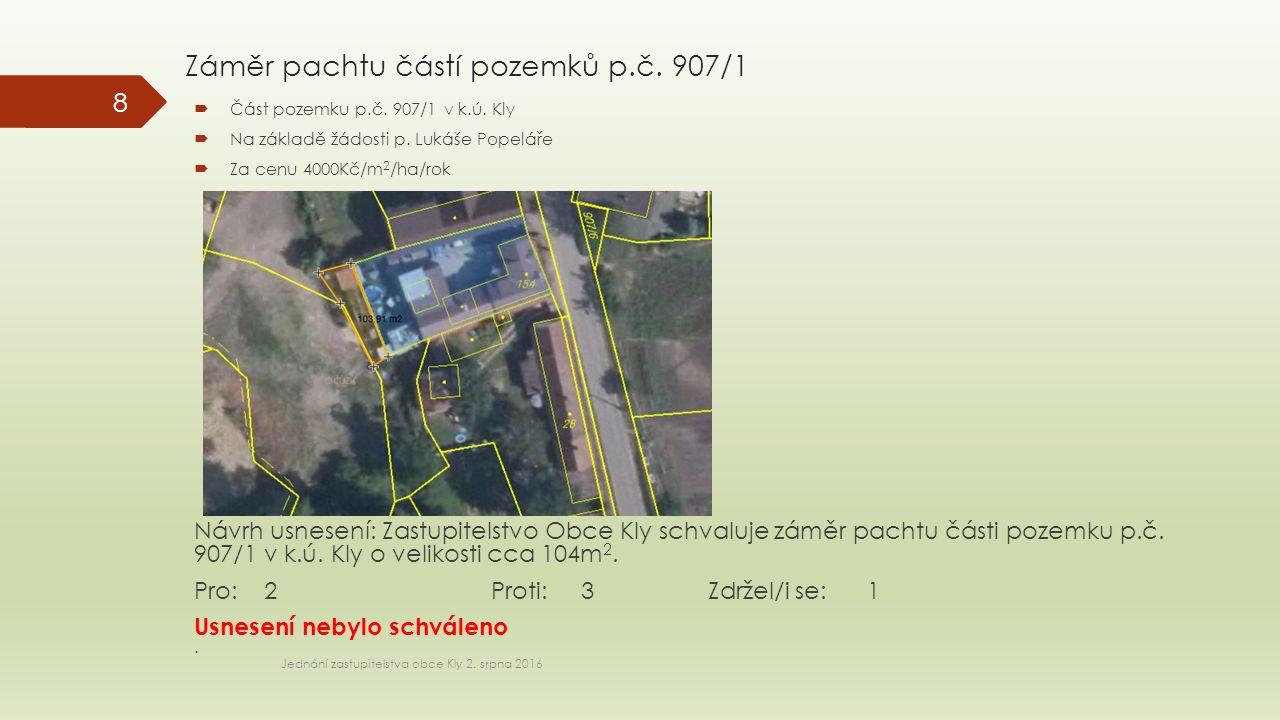 Záměr pachtu částí pozemků p.č. 907/1 Jednání zastupitelstva obce Kly 2.