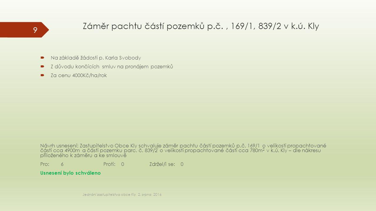 Záměr pachtu částí pozemků p.č., 169/1, 839/2 v k.ú.