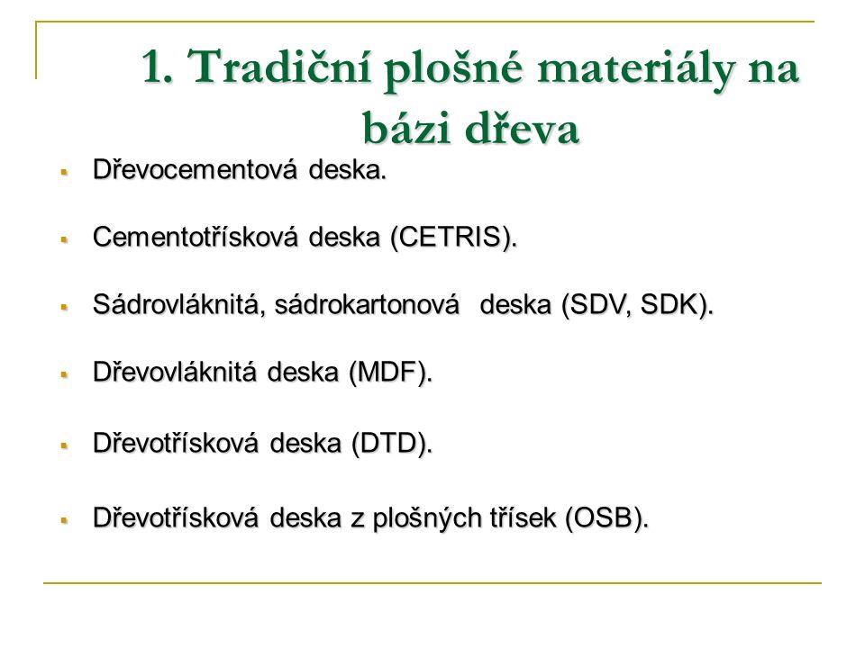 1. Tradiční plošné materiály na bázi dřeva  Dřevocementová deska.