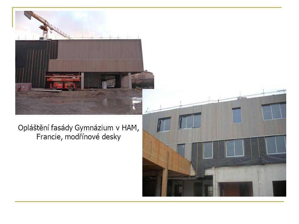 Opláštění fasády Gymnázium v HAM, Francie, modřínové desky