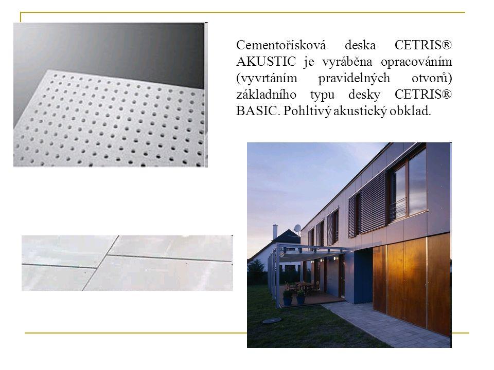 Cementořísková deska CETRIS® AKUSTIC je vyráběna opracováním (vyvrtáním pravidelných otvorů) základního typu desky CETRIS® BASIC.