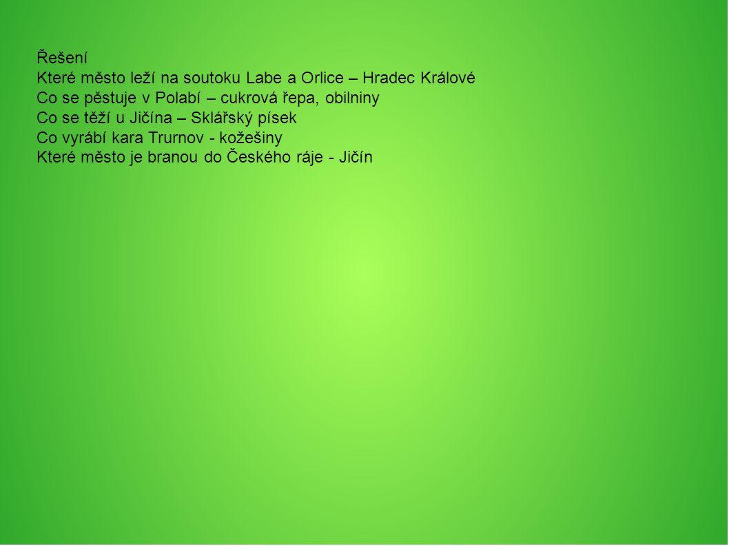 Řešení Které město leží na soutoku Labe a Orlice – Hradec Králové Co se pěstuje v Polabí – cukrová řepa, obilniny Co se těží u Jičína – Sklářský písek Co vyrábí kara Trurnov - kožešiny Které město je branou do Českého ráje - Jičín
