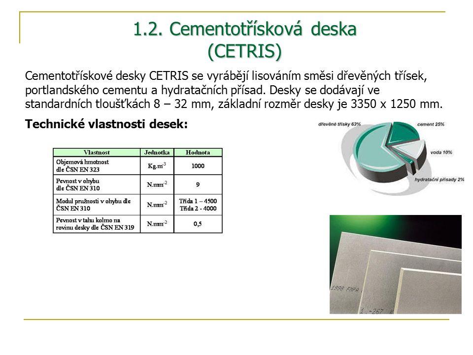 1.2. Cementotřísková deska (CETRIS) Cementotřískové desky CETRIS se vyrábějí lisováním směsi dřevěných třísek, portlandského cementu a hydratačních př