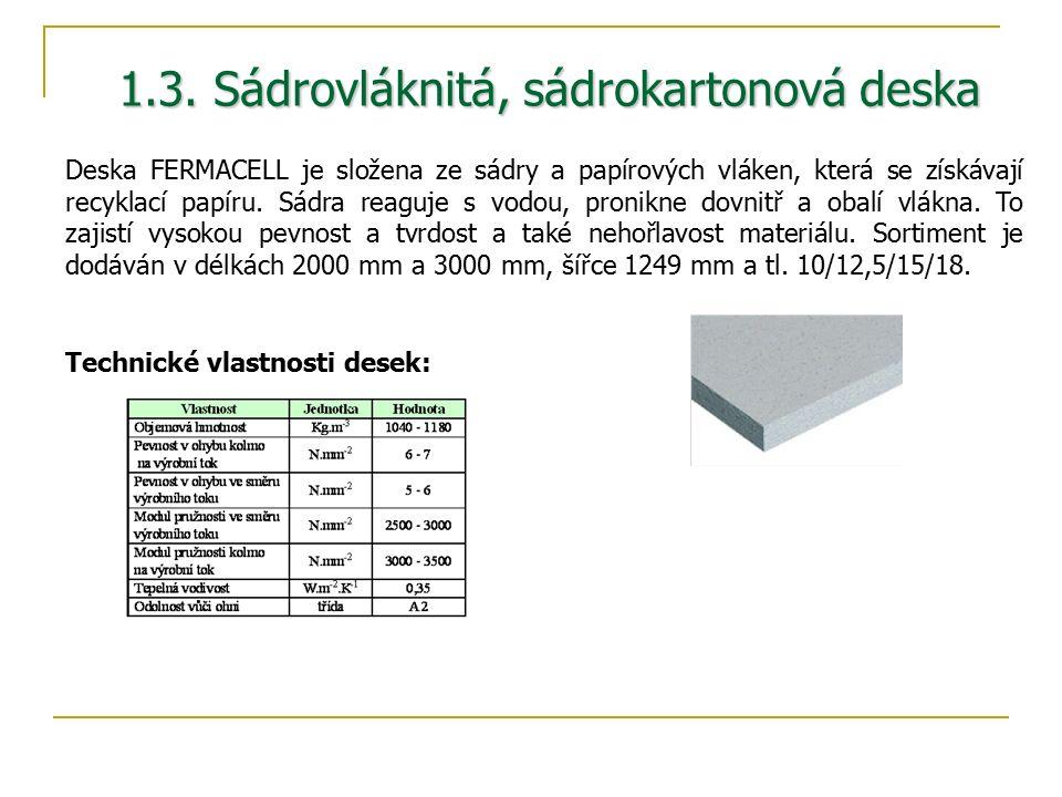 1.3. Sádrovláknitá, sádrokartonová deska Deska FERMACELL je složena ze sádry a papírových vláken, která se získávají recyklací papíru. Sádra reaguje s