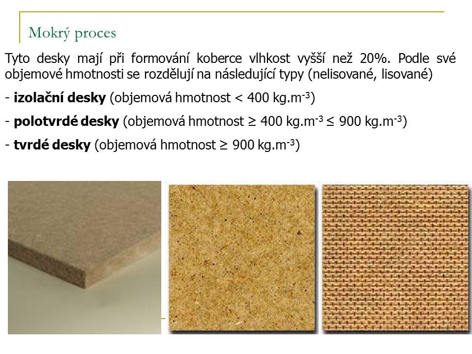 Mokrý proces Tyto desky mají při formování koberce vlhkost vyšší než 20%.