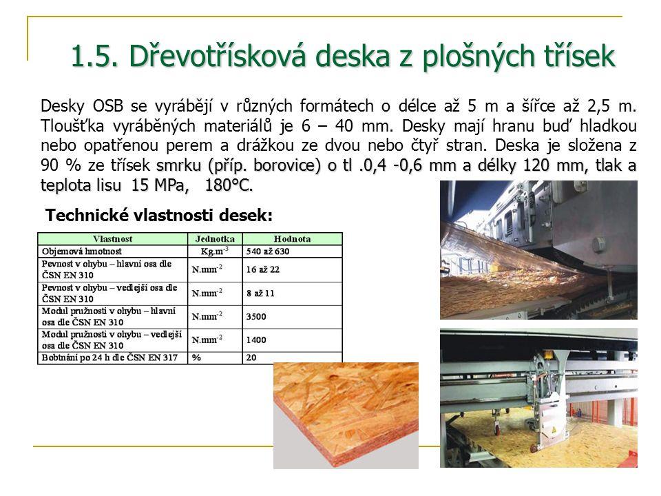 1.5. Dřevotřísková deska z plošných třísek smrku (příp.