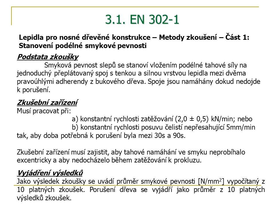 3.1. EN 302-1 Podstata zkoušky Smyková pevnost slepů se stanoví vložením podélné tahové síly na jednoduchý přeplátovaný spoj s tenkou a silnou vrstvou