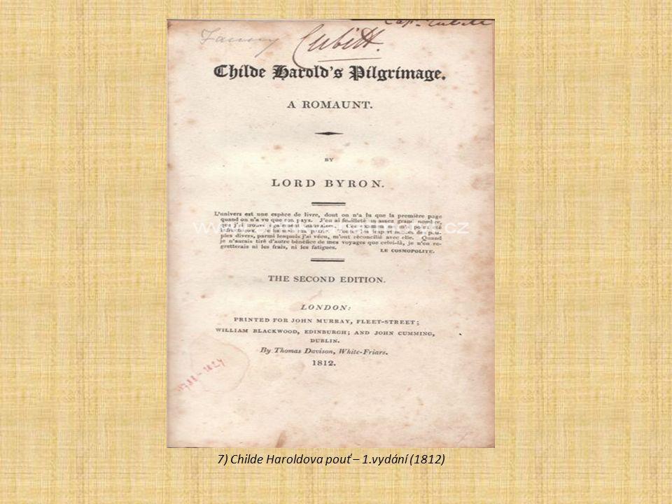 7) Childe Haroldova pouť – 1.vydání (1812)