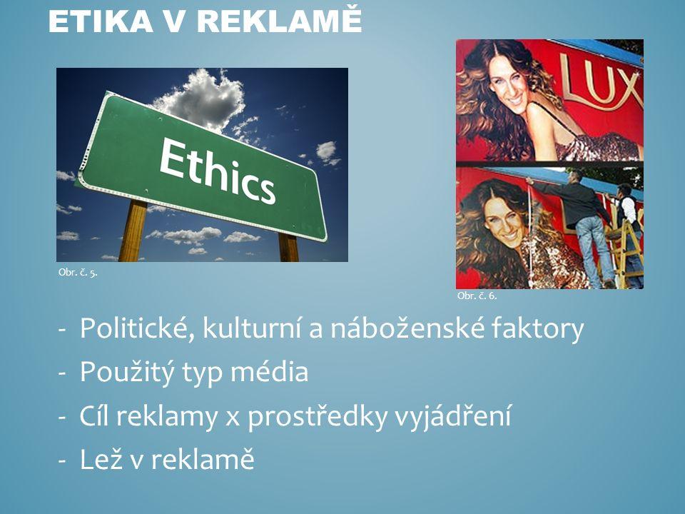 -Politické, kulturní a náboženské faktory -Použitý typ média -Cíl reklamy x prostředky vyjádření -Lež v reklamě ETIKA V REKLAMĚ Obr.