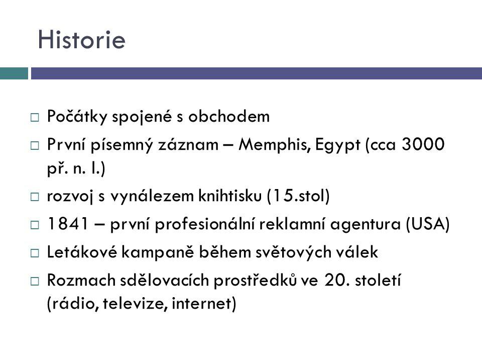 Historie  Počátky spojené s obchodem  První písemný záznam – Memphis, Egypt (cca 3000 př.