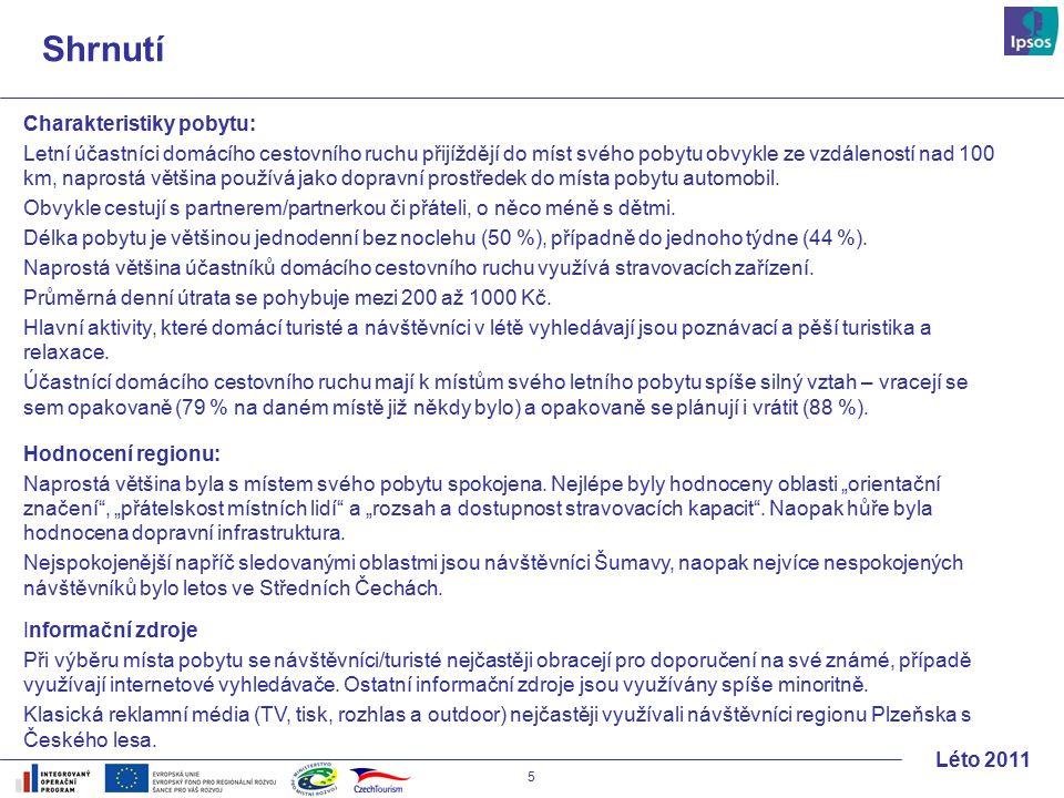 16 Léto 2011 Vztah k regionu Vztah k navštěvovaným místům ČR je jednoznačně pozitivní.