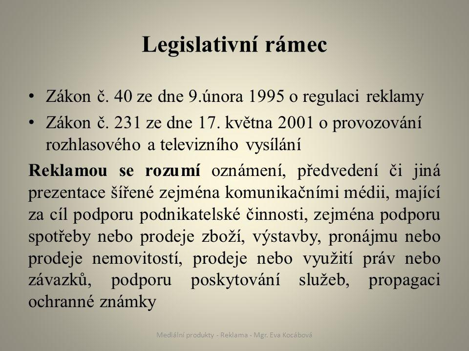 Legislativní rámec Zákon č. 40 ze dne 9.února 1995 o regulaci reklamy Zákon č.
