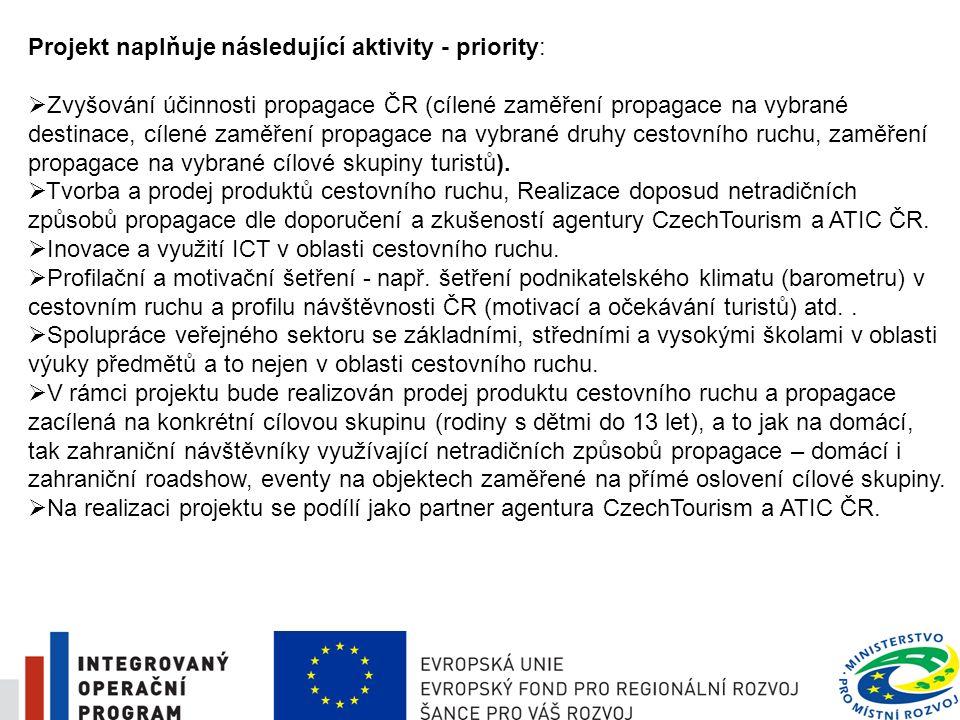 5 Projekt naplňuje následující aktivity - priority:  Zvyšování účinnosti propagace ČR (cílené zaměření propagace na vybrané destinace, cílené zaměřen