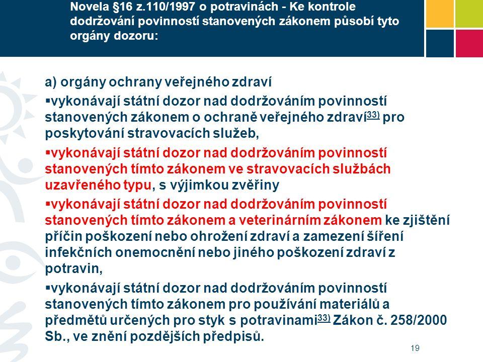 Novela §16 z.110/1997 o potravinách - Ke kontrole dodržování povinností stanovených zákonem působí tyto orgány dozoru: a) orgány ochrany veřejného zdraví  vykonávají státní dozor nad dodržováním povinností stanovených zákonem o ochraně veřejného zdraví 33) pro poskytování stravovacích služeb, 33)  vykonávají státní dozor nad dodržováním povinností stanovených tímto zákonem ve stravovacích službách uzavřeného typu, s výjimkou zvěřiny  vykonávají státní dozor nad dodržováním povinností stanovených tímto zákonem a veterinárním zákonem ke zjištění příčin poškození nebo ohrožení zdraví a zamezení šíření infekčních onemocnění nebo jiného poškození zdraví z potravin,  vykonávají státní dozor nad dodržováním povinností stanovených tímto zákonem pro používání materiálů a předmětů určených pro styk s potravinami 33) Zákon č.