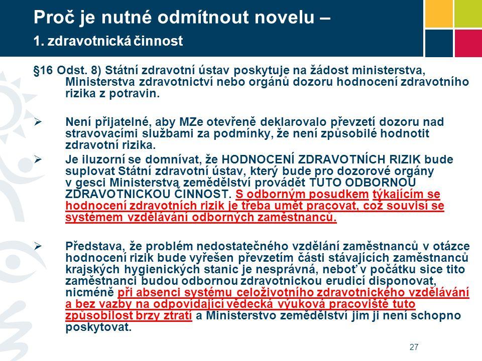 27 Proč je nutné odmítnout novelu – 1. zdravotnická činnost §16 Odst. 8) Státní zdravotní ústav poskytuje na žádost ministerstva, Ministerstva zdravot