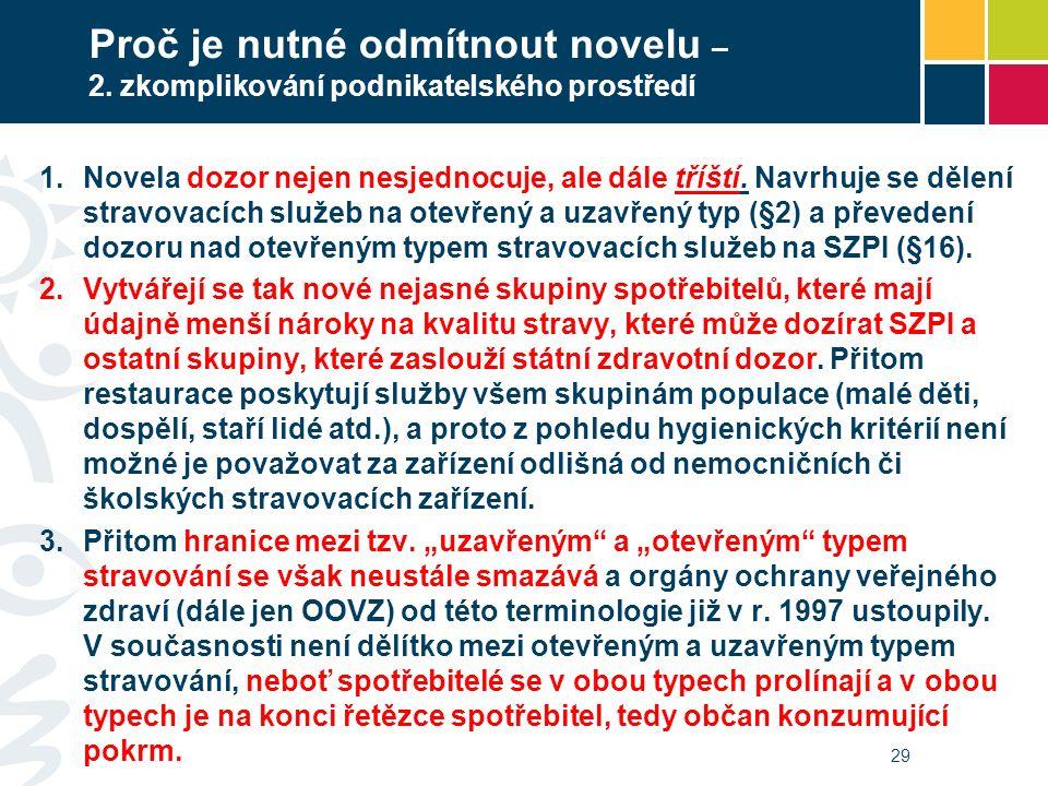 Proč je nutné odmítnout novelu – 2. zkomplikování podnikatelského prostředí  Novela dozor nejen nesjednocuje, ale dále tříští. Navrhuje se dělení st