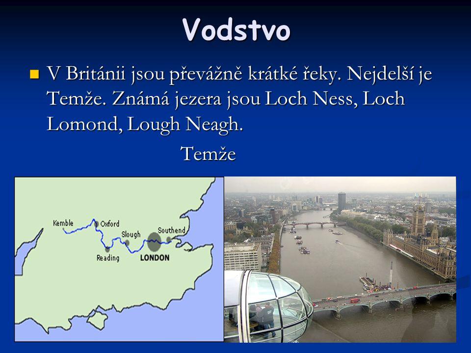 Vodstvo V Británii jsou převážně krátké řeky. Nejdelší je Temže.
