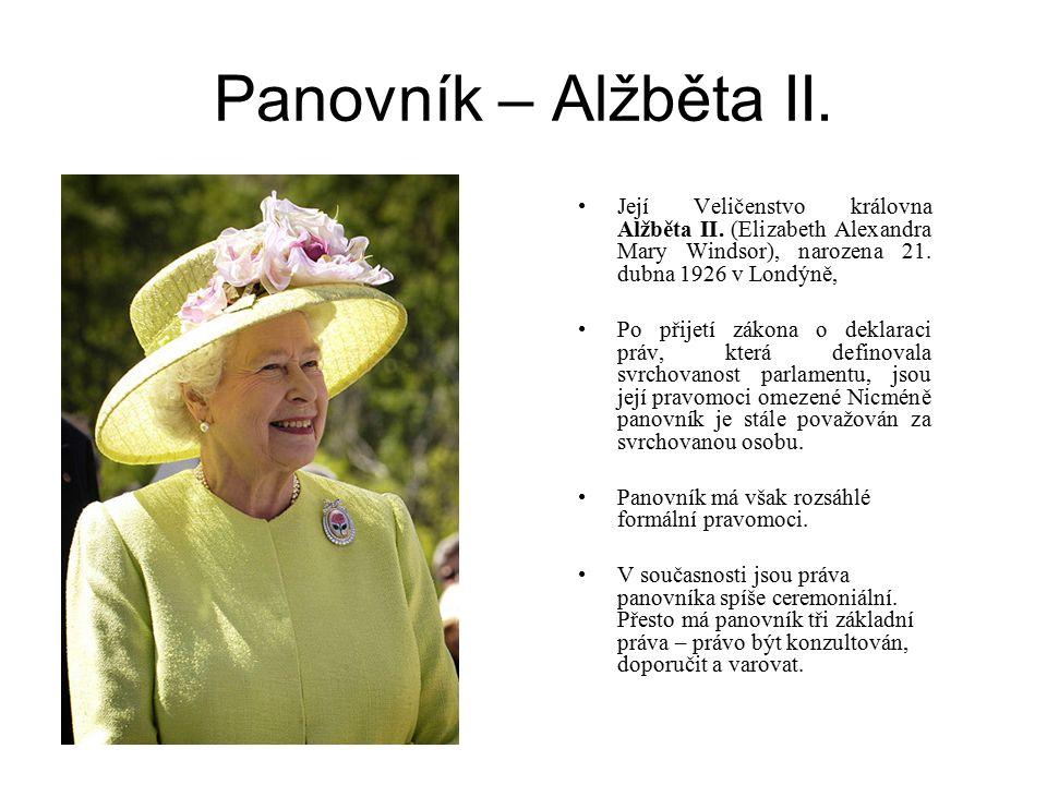 Panovník – Alžběta II. Její Veličenstvo královna Alžběta II. (Elizabeth Alexandra Mary Windsor), narozena 21. dubna 1926 v Londýně, Po přijetí zákona