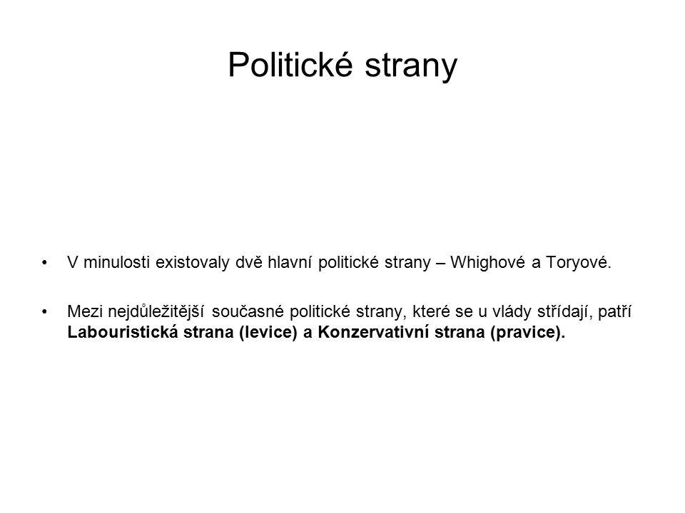 Politické strany V minulosti existovaly dvě hlavní politické strany – Whighové a Toryové. Mezi nejdůležitější současné politické strany, které se u vl