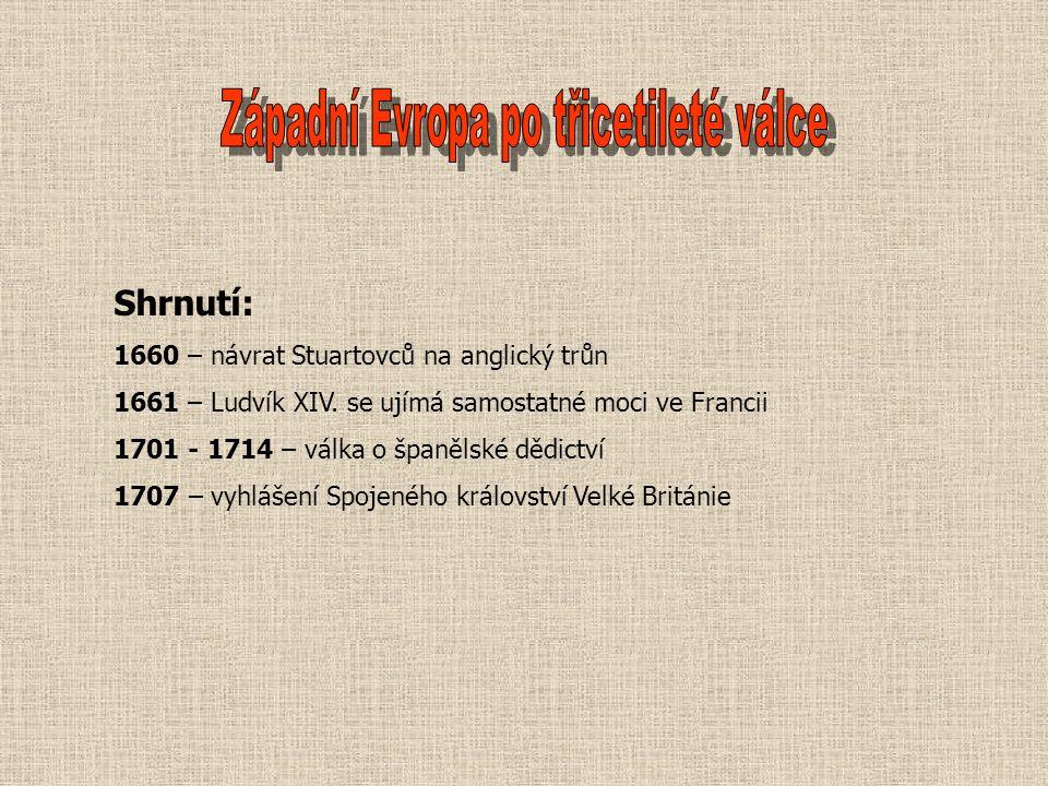 Shrnutí: 1660 – návrat Stuartovců na anglický trůn 1661 – Ludvík XIV.