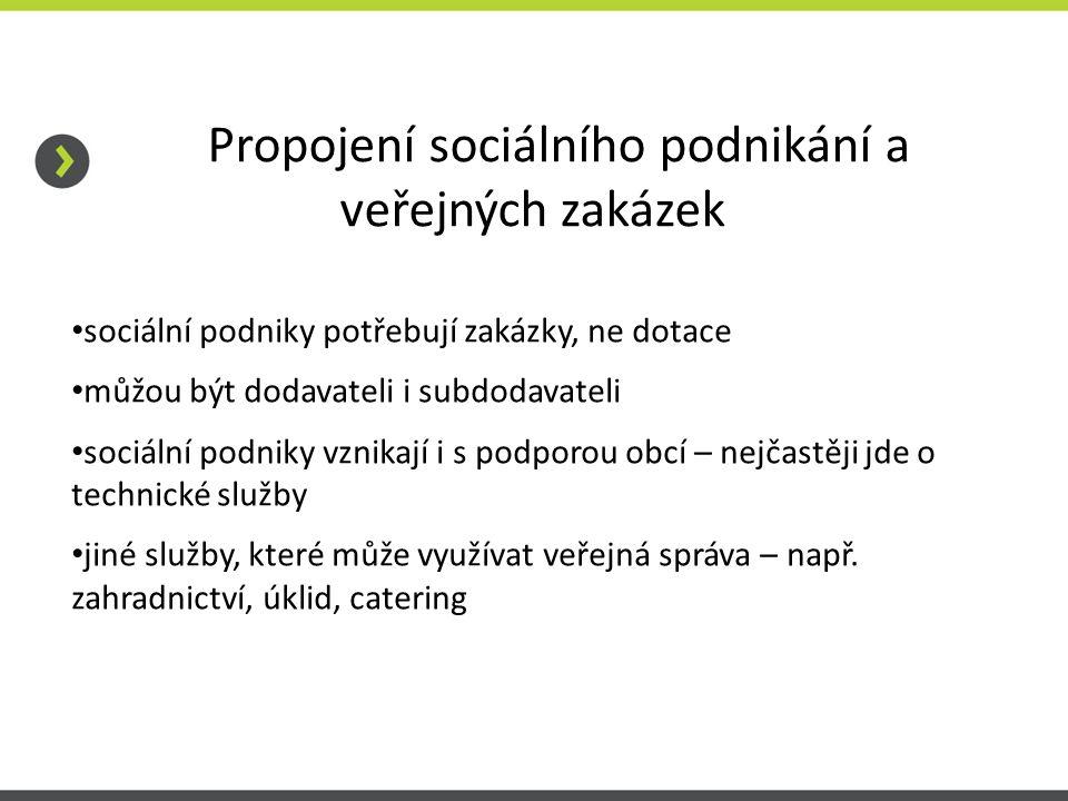 Propojení sociálního podnikání a veřejných zakázek sociální podniky potřebují zakázky, ne dotace můžou být dodavateli i subdodavateli sociální podniky