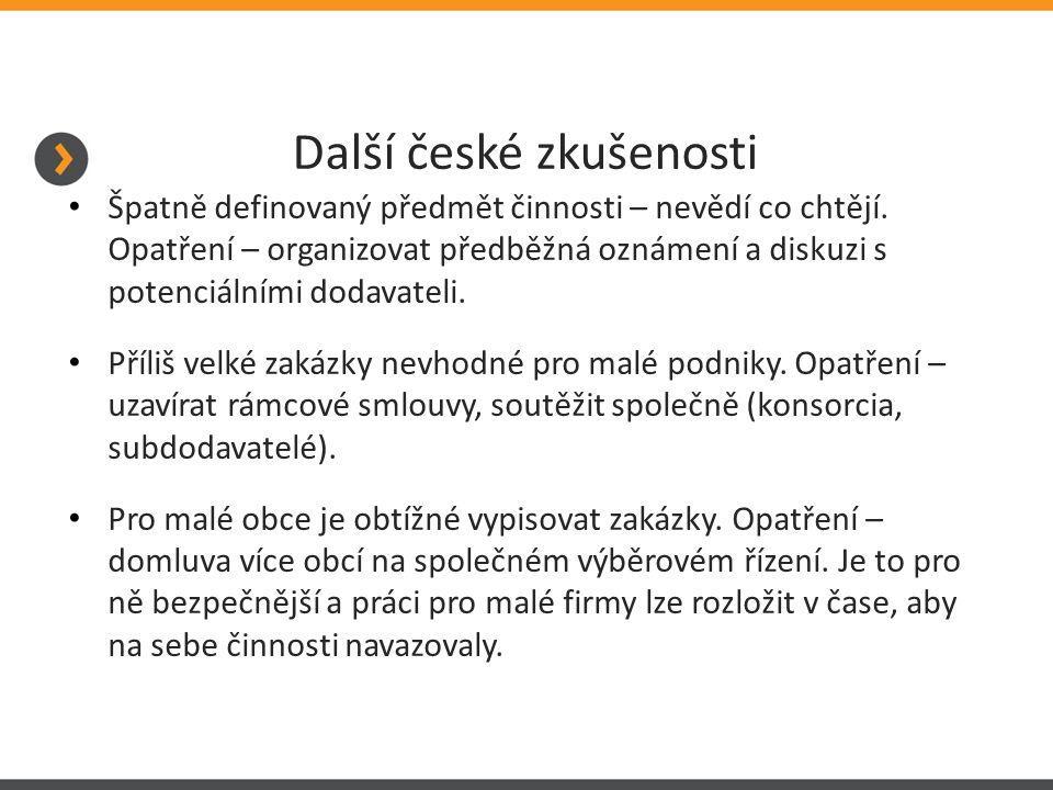 Další české zkušenosti Špatně definovaný předmět činnosti – nevědí co chtějí.