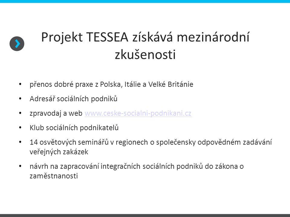 Projekt TESSEA získává mezinárodní zkušenosti přenos dobré praxe z Polska, Itálie a Velké Británie Adresář sociálních podniků zpravodaj a web www.ceske-socialni-podnikani.czwww.ceske-socialni-podnikani.cz Klub sociálních podnikatelů 14 osvětových seminářů v regionech o společensky odpovědném zadávání veřejných zakázek návrh na zapracování integračních sociálních podniků do zákona o zaměstnanosti