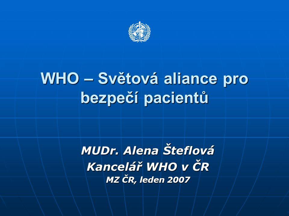 WHO – Světová aliance pro bezpečí pacientů MUDr. Alena Šteflová Kancelář WHO v ČR MZ ČR, leden 2007