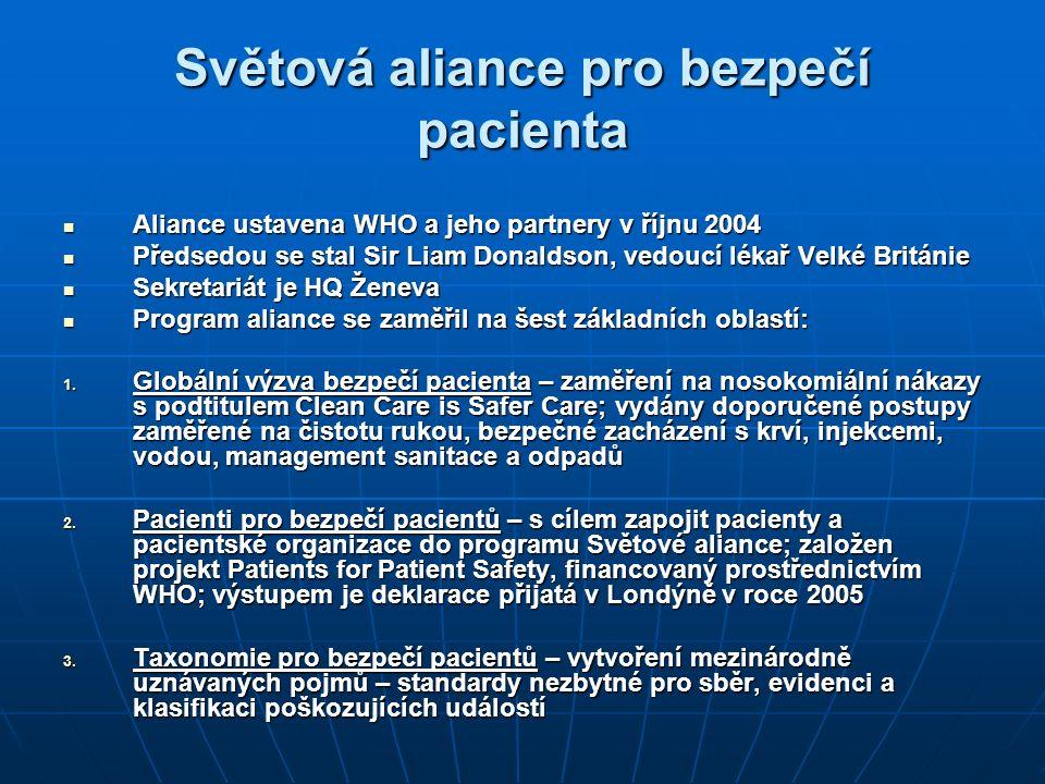 Světová aliance pro bezpečí pacienta Aliance ustavena WHO a jeho partnery v říjnu 2004 Aliance ustavena WHO a jeho partnery v říjnu 2004 Předsedou se stal Sir Liam Donaldson, vedoucí lékař Velké Británie Předsedou se stal Sir Liam Donaldson, vedoucí lékař Velké Británie Sekretariát je HQ Ženeva Sekretariát je HQ Ženeva Program aliance se zaměřil na šest základních oblastí: Program aliance se zaměřil na šest základních oblastí: 1.