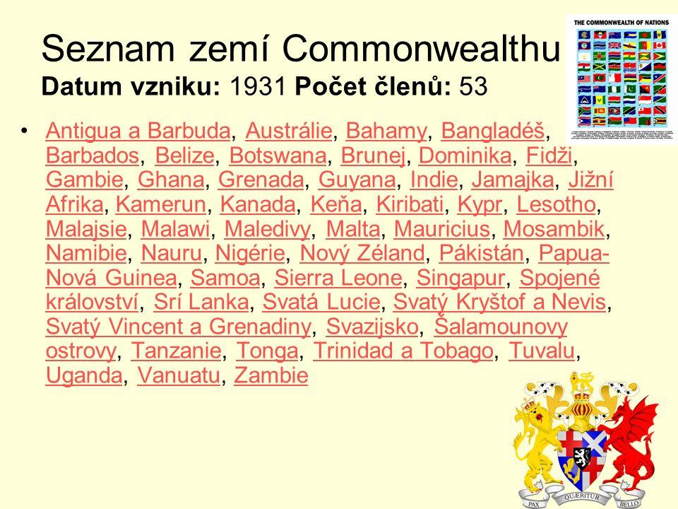 Seznam zemí Commonwealthu Datum vzniku: 1931 Počet členů: 53 Antigua a Barbuda, Austrálie, Bahamy, Bangladéš, Barbados, Belize, Botswana, Brunej, Domi