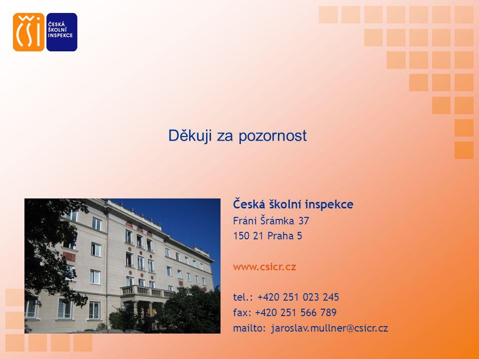 Česká školní inspekce Fráni Šrámka 37 150 21 Praha 5 www.csicr.cz tel.: +420 251 023 245 fax: +420 251 566 789 mailto: jaroslav.mullner@csicr.cz Děkuj