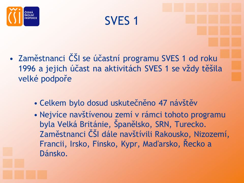 SVES 1 Zaměstnanci ČŠI se účastní programu SVES 1 od roku 1996 a jejich účast na aktivitách SVES 1 se vždy těšila velké podpoře Celkem bylo dosud uskutečněno 47 návštěv Nejvíce navštívenou zemí v rámci tohoto programu byla Velká Británie, Španělsko, SRN, Turecko.
