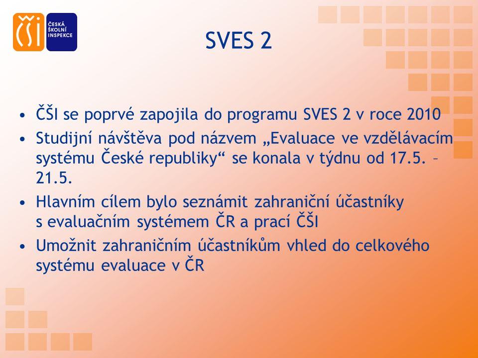 """SVES 2 ČŠI se poprvé zapojila do programu SVES 2 v roce 2010 Studijní návštěva pod názvem """"Evaluace ve vzdělávacím systému České republiky se konala v týdnu od 17.5."""