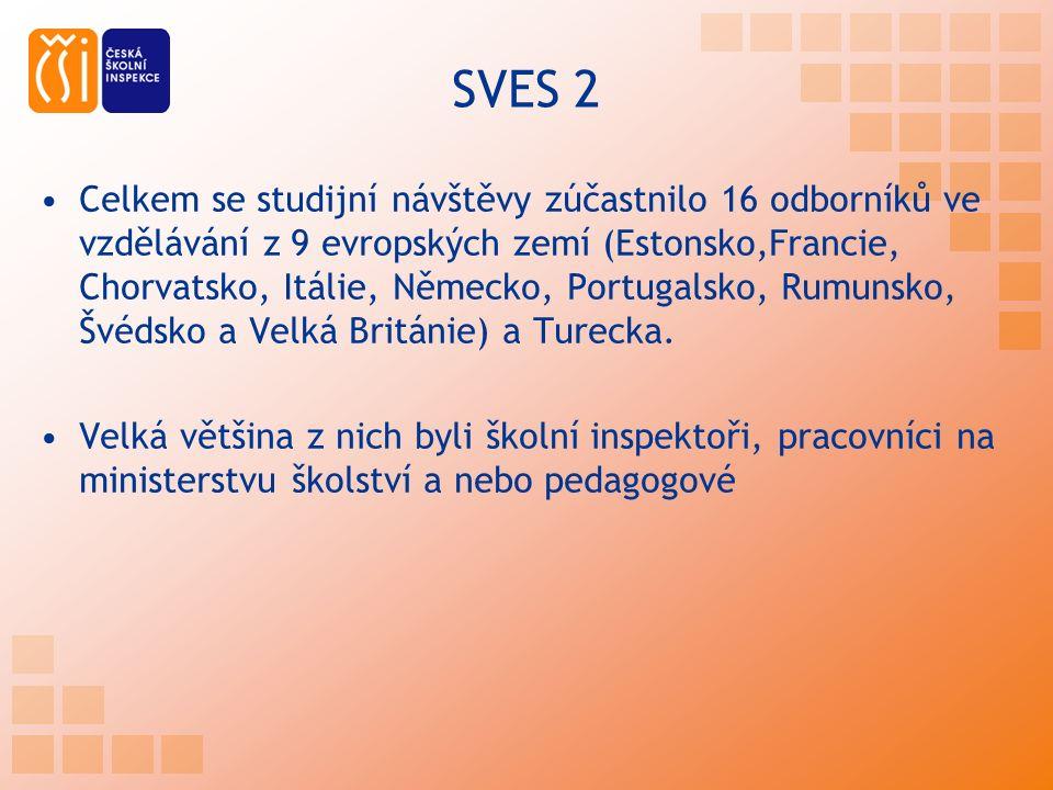 SVES 2 Celkem se studijní návštěvy zúčastnilo 16 odborníků ve vzdělávání z 9 evropských zemí (Estonsko,Francie, Chorvatsko, Itálie, Německo, Portugalsko, Rumunsko, Švédsko a Velká Británie) a Turecka.
