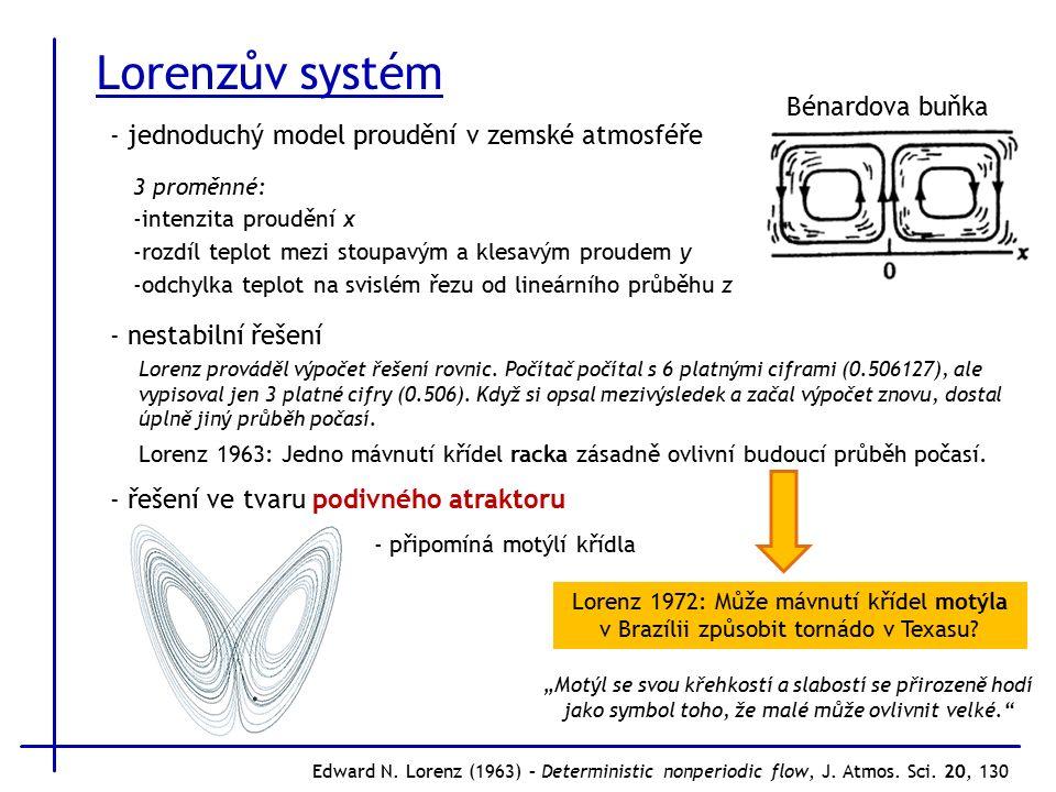 Lorenzův systém Edward N. Lorenz (1963) – Deterministic nonperiodic flow, J.