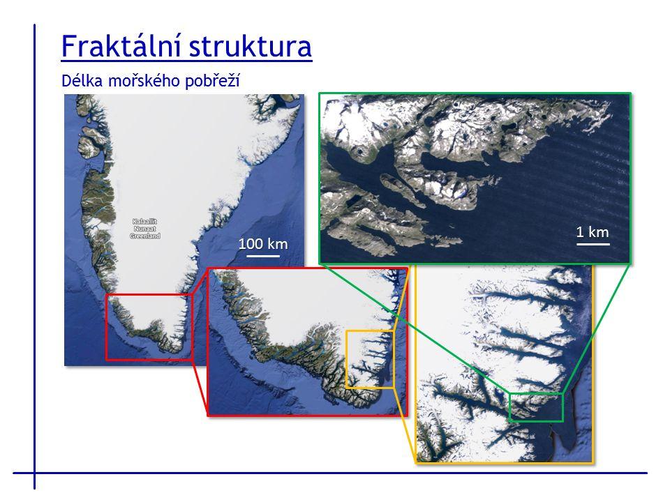 Délka mořského pobřeží 1 km 100 km Fraktální struktura