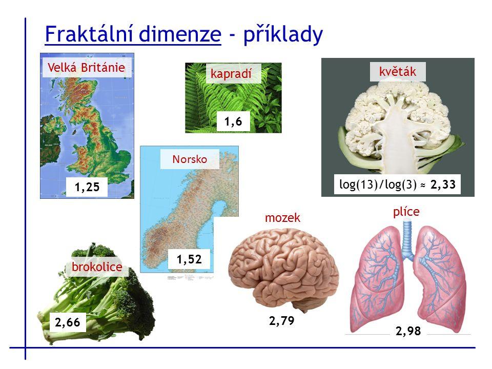 Fraktální dimenze - příklady Velká Británie 1,25 květák log(13)/log(3) ≈ 2,33 kapradí 1,6 brokolice 2,66 Norsko 1,52 mozek 2,79 plíce 2,98