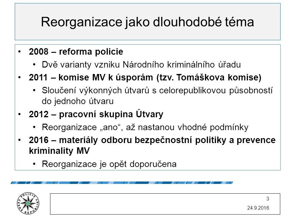 Reorganizace jako dlouhodobé téma 2008 – reforma policie Dvě varianty vzniku Národního kriminálního úřadu 2011 – komise MV k úsporám (tzv. Tomáškova k