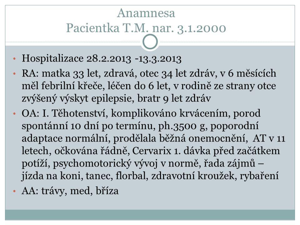Anamnesa Pacientka T.M. nar.
