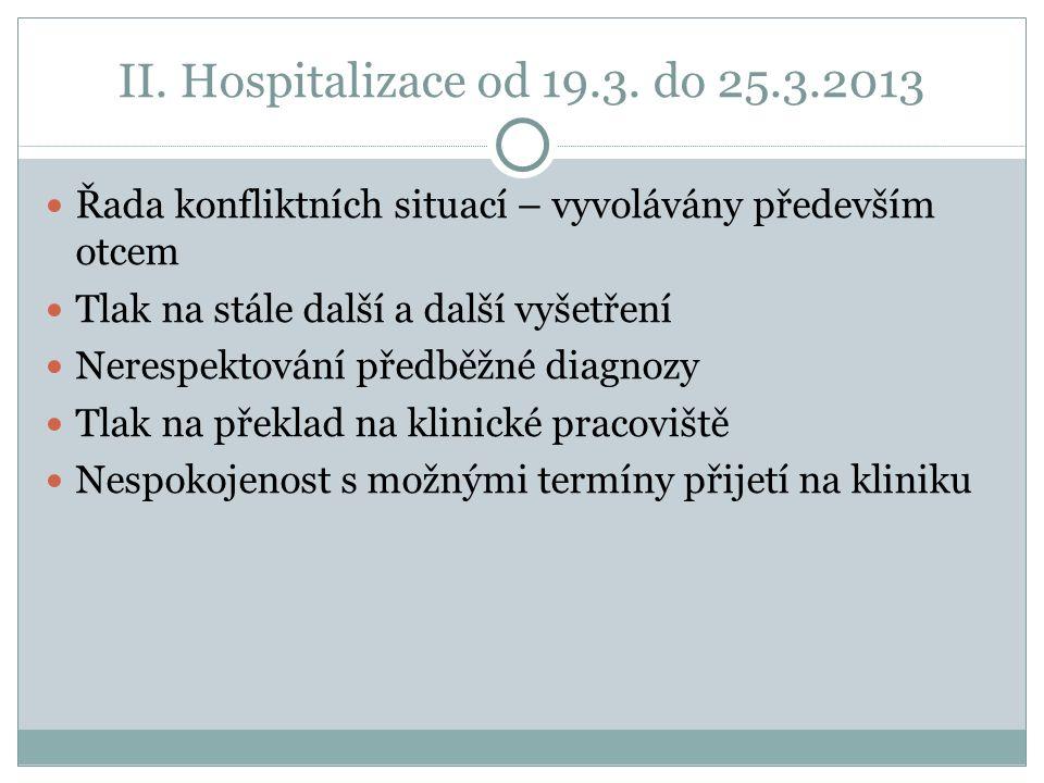 II. Hospitalizace od 19.3.