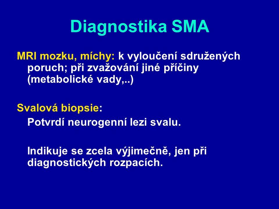 Diagnostika SMA MRI mozku, míchy: k vyloučení sdružených poruch; při zvažování jiné příčiny (metabolické vady,..) Svalová biopsie: Potvrdí neurogenní lezi svalu.