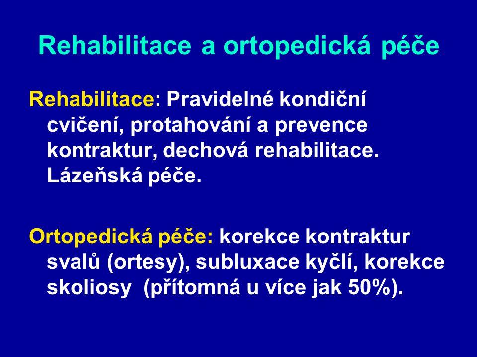 Rehabilitace a ortopedická péče Rehabilitace: Pravidelné kondiční cvičení, protahování a prevence kontraktur, dechová rehabilitace.