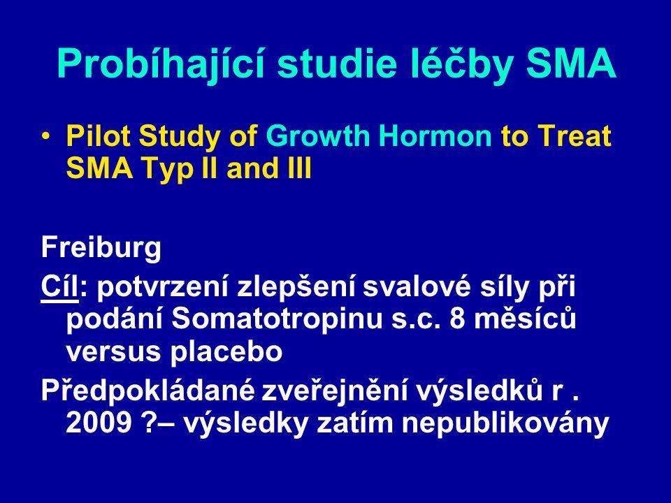 Probíhající studie léčby SMA Pilot Study of Growth Hormon to Treat SMA Typ II and III Freiburg Cíl: potvrzení zlepšení svalové síly při podání Somatot