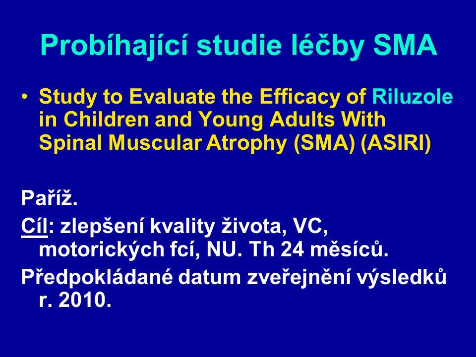 Probíhající studie léčby SMA Study to Evaluate the Efficacy of Riluzole in Children and Young Adults With Spinal Muscular Atrophy (SMA) (ASIRI) Paříž.