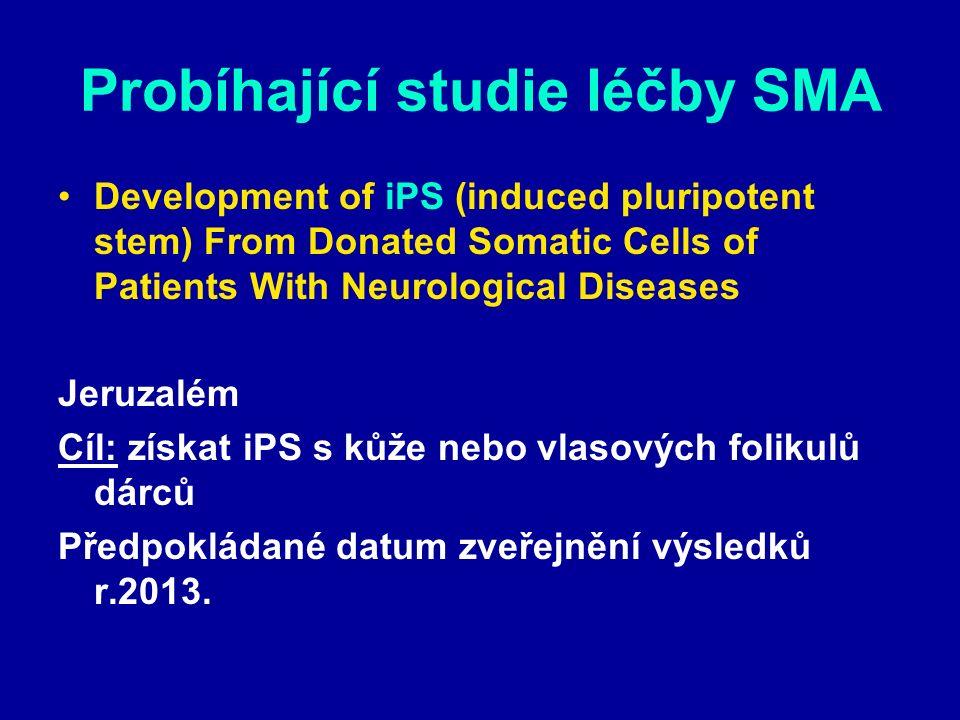 Probíhající studie léčby SMA Development of iPS (induced pluripotent stem) From Donated Somatic Cells of Patients With Neurological Diseases Jeruzalém Cíl: získat iPS s kůže nebo vlasových folikulů dárců Předpokládané datum zveřejnění výsledků r.2013.
