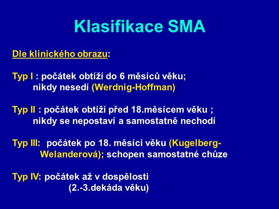 Klasifikace SMA Dle klinického obrazu: Typ I : počátek obtíží do 6 měsíců věku; nikdy nesedí (Werdnig-Hoffman) Typ II : počátek obtíží před 18.měsícem věku ; nikdy se nepostaví a samostatně nechodí Typ III: počátek po 18.