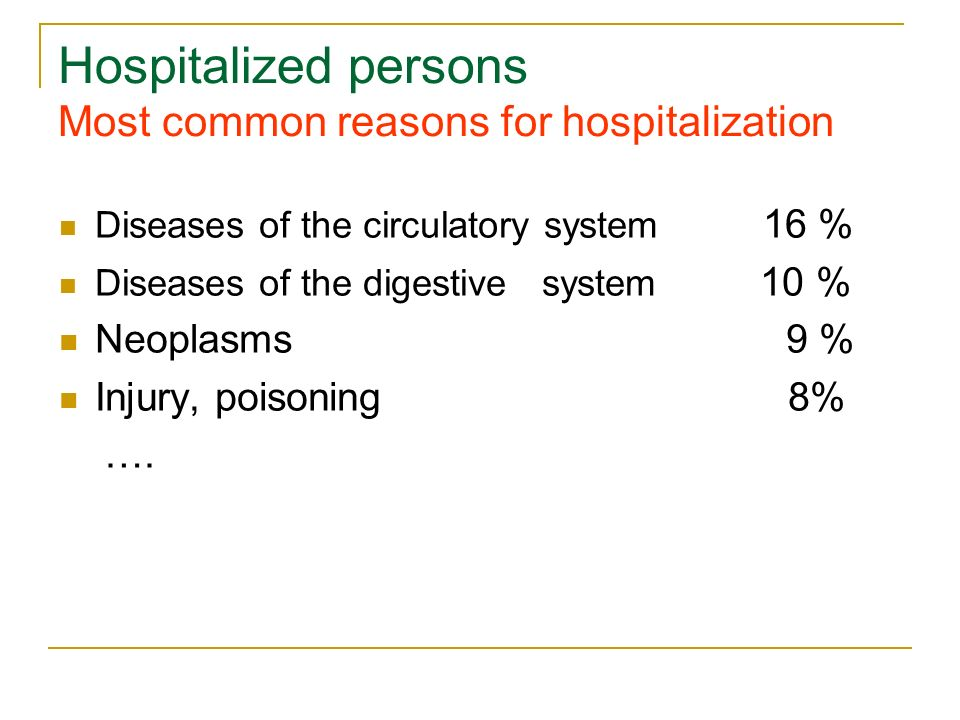 Hospitalized persons Most common reasons for hospitalization Diseases of the circulatory system 16 % Diseases of the digestive system 10 % Neoplasms 9