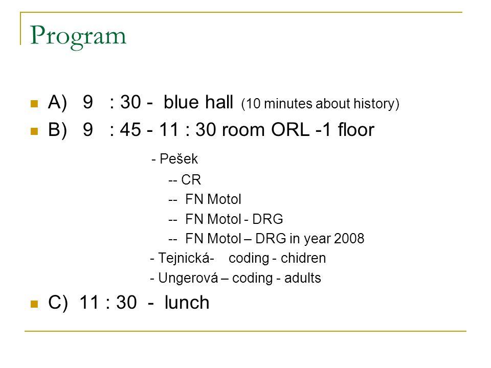 Program A) 9 : 30 - blue hall (10 minutes about history) B) 9 : 45 - 11 : 30 room ORL -1 floor - Pešek -- CR -- FN Motol -- FN Motol - DRG -- FN Motol