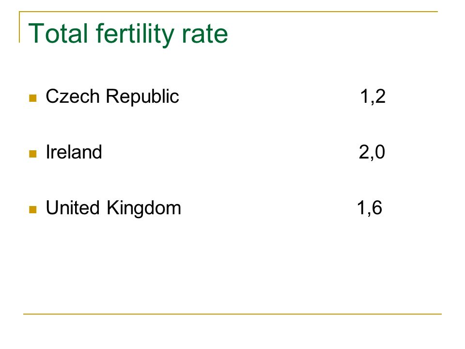 Total fertility rate Czech Republic 1,2 Ireland 2,0 United Kingdom 1,6